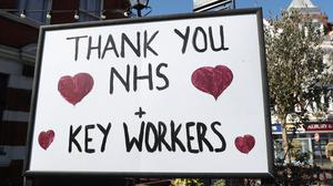 A sign thanking NHS staff and key workers (Andrew Matthews/PA)
