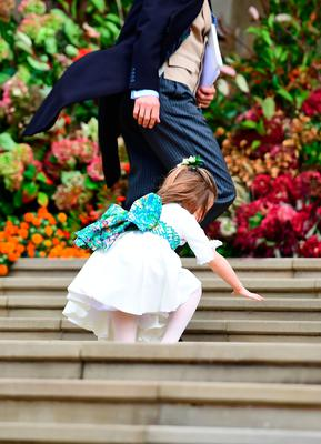 Princess Charlotte took a tumble as she arrived at the wedding of Princess Eugenie of York and Jack Brooksbank