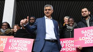 Mayor of London Sadiq Khan arrives at the Rose Lipman Building in London, for the launch of his re-election campaign (PA).
