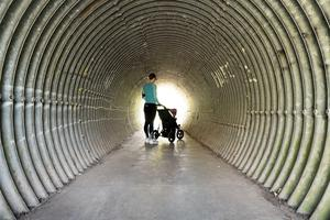A photo taken by Historic England photographer Steven Baker of the tunnel that leads to his nearest open space for daily exercise in Victory Park, Stroud, Gloucestershire (Steven Baker/Historic England/PA)