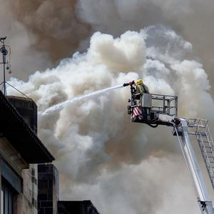 Firefighters tackling the blaze at Glasgow School of Art's Charles Rennie Mackintosh building