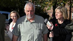 Allen Lambert, 65, leaves Norwich Magistrates' Court who escaped an immediate jail term after being found guilty of deliberately killing 10 buzzards and a sparrowhawk and possession of pesticides and items used to prepare poison baits.
