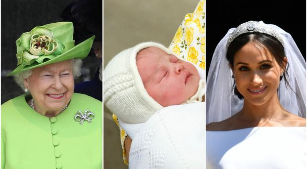 The Queen, the birth of Princess Charlotte and Meghan's wedding to Harry (PA)