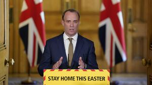 Foreign Secretary Dominic Raab during Monday's Covid-19 media briefing in Downing Street (Andrew Parsons/10 Downing Street/Crown Copyright/PA)