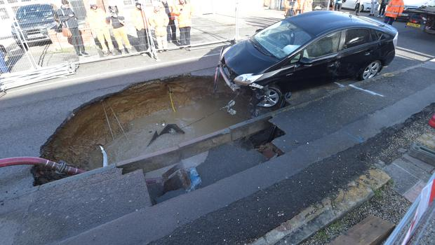 The sinkhole emerged in Brentwood, Essex (Nick Ansell/PA)