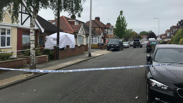 The scene in Ashmour Gardens, Romford, east London, where an 85-year-old woman has been found dead (Thomas Hornall/PA)