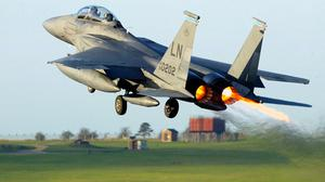 An F15 takes off from RAF Lakenheath (Andrew PArsons/PA)