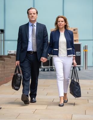 Former Conservative MP Charlie Elphicke arriving at Southwark Crown Court alongside MP for Dover Natalie Elphicke, his wife (Dominic Lipinski / PA)