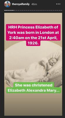 A photo of Princess Elizabeth on the Royal Family's Instagram Stories (Screengrab/PA)