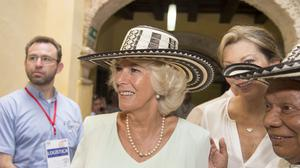 The Duchess of Cornwall dons a sombrero during a visit to the Museo del Oro (Gold Museum), Cartagena, on the fourth day of the Prince of Wales and Duchess of Cornwall's tour to Colombia and Mexico.
