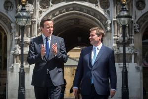 Prime Minister David Cameron welcomes newly elected Newark MP Robert Jenrick to the Houses of Parliament in 2014 (Stefan Rousseau/PA)