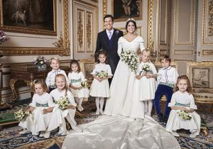 The couple were joined by the young bridal party for one image (Alex Bramall/PA)