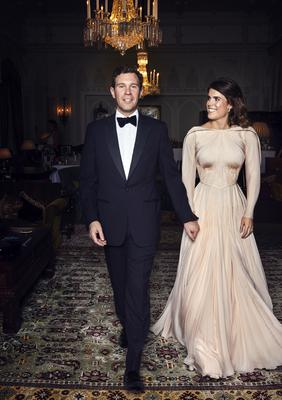 Eugenie looked stunning in a Zac Posen gown for the evening celebration (Alex Bramall/PA)