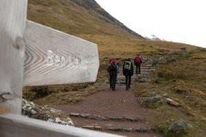 Hill walkers make their way along the Ben Nevis mountain path in Scotland (Andrew Milligan/PA Wire)