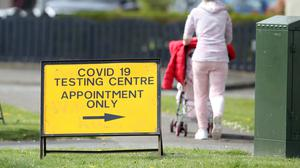 A sign at a Covid-19 testing centre (PA)