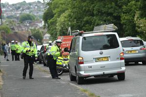 Police stopped vehicles on the A23 between London and Brighton near Patcham (Yui Mok/PA)