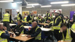 The canteen at one London construction company on Monday (Handout/PA)