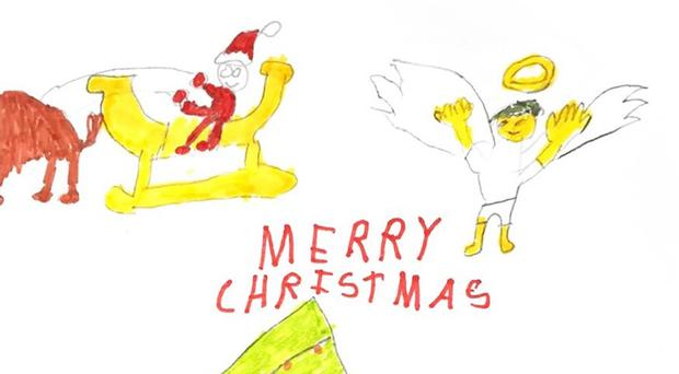 Jeremy Coryn's Christmas card drawn by nine-year-old cystic fibrosis sufferer Luis Walker (Labour Party/PA)