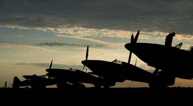 Hawker Hurricanes on the flightline during the Duxford Battle of Britain Air Show (Joe Giddens/PA)