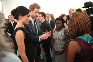 Meghan and Harry speak to guests at a women's empowerment reception during the Commonwealth Heads of Government Meeting in 2018 (Chris Jackson/PA)
