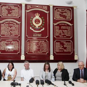 Family members of Lee Rigby speak at a press conference at the Regimental HQ of his unit, the Royal Regiment of Fusiliers in Bury