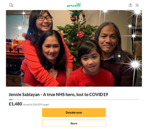 """A GoFundMe has been set up in memory of Jennie Sablayan and describes her as a """"true NHS hero""""."""