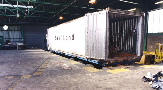 The container that carried dead asylum seekers into Dover (PA)