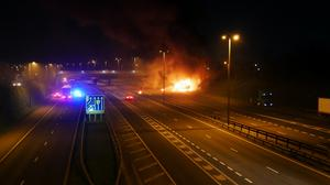 The incident on the M62 (Rob Collinson/PA)