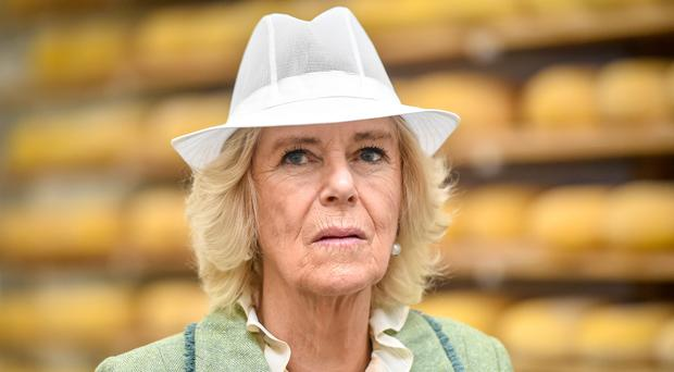 The Duchess of Cornwall wore a white hat in cheese-making areas (Ben Birchall/PA)