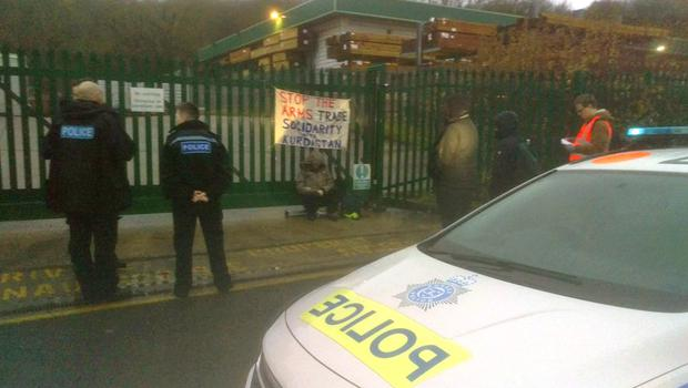 Protesters chained themselves to the gates of a factory in Brighton (Brighton Against The Arms Trade/PA)