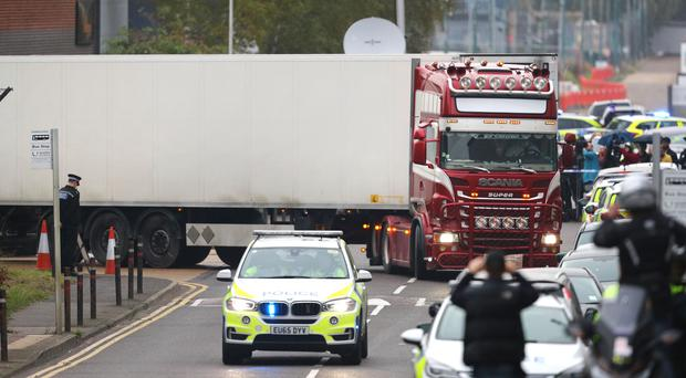 The container lorry where 39 people were found dead inside leaves Waterglade Industrial Park in Grays (Aaron Chown/PA)