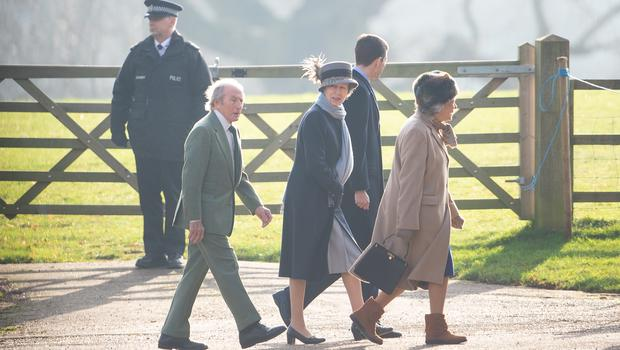 Sir Jackie Stewart and the Princess Royal arrive at the service on Sunday (Joe Giddens/PA)