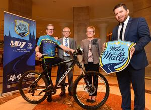 Matthew Drumm's brother Kieran (right) and his parents Sean and Ann with the general manager of the Europa Hotel James McGinn at the launch of the Miles For Matty fundraising cycle in memory of Matthew