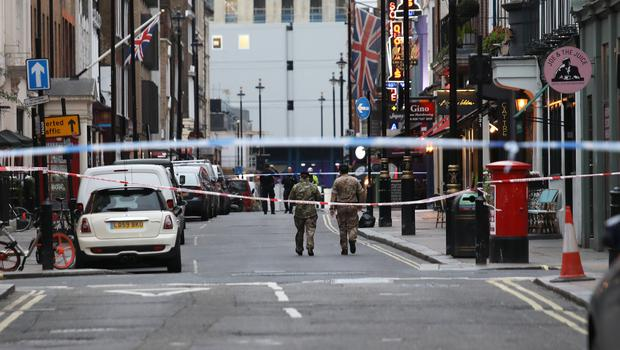 Military personnel at Dean Street a Second World War bomb was discovered (Philip Toscano/PA)