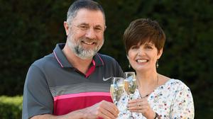 Gerry Cannings and his wife Lisa from near Peterborough won a £32.5m rollover Lotto jackpot