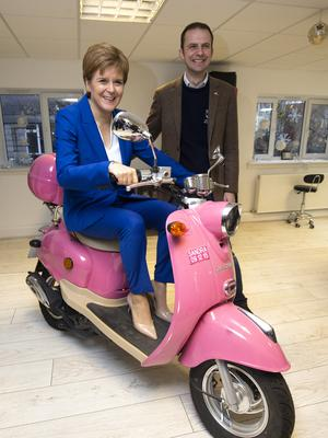 Meanwhile, SNP leader Nicola Sturgeon visited Craig Boyd Hairdressing in Leven, Fife (Jane Barlow/PA)