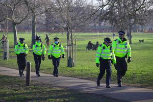 Police presence before a proposed anti-lockdown protest in Clapham Common (Aaron Chown/PA)