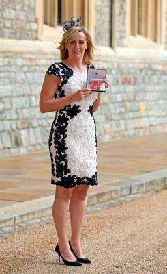 Tracey Neville at an investiture ceremony at Windsor Castle yesterday