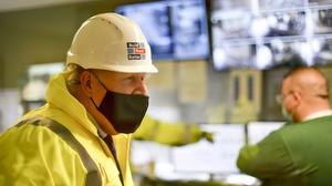 Prime Minister Boris Johnson during a visit to the Conway Heathrow Asphalt and Recycling Plant construction site in west London.