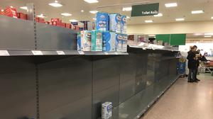 The toilet roll aisle at Morrisons in Shawlands, Glasgow (Lucinda Cameron/PA)
