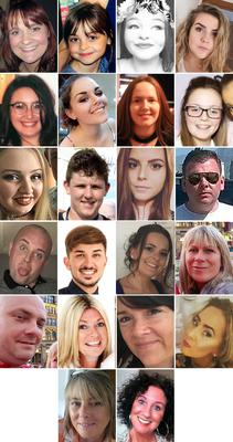The 22 victims of the terror attack (top row L to R) Off-duty police officer Elaine McIver, 43, Saffie Roussos, 8, Sorrell Leczkowski, 14, Eilidh MacLeod, 14, (2nd row L to R) Nell Jones, 14, Olivia Campbell-Hardy, 15, Megan Hurley, 15, Georgina Callander, 18, (3rd row L to R), Chloe Rutherford,17, Liam Curry, 19, Courtney Boyle, 19, and Philip Tron, 32, (4th row L to R) John Atkinson, 26, Martyn Hett, 29, Kelly Brewster, 32, Angelika Klis, 39, (5th row L to R) Marcin Klis, 42, Michelle Kiss, 45, Alison Howe, 45, and Lisa Lees, 43 (6th row L to R) Wendy Fawell, 50 and Jane Tweddle, 51 (PA)