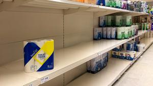 Shortage of toilet rolls on the shelves at a Sainsbury's store (PA)