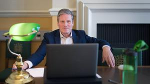 Sir Keir Starmer holds an online phone-in with residents in Glasgow (Stefan Rousseau/PA)