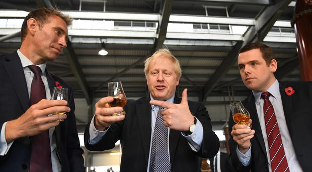 Prime Minister Boris Johnson ruled out ever allowing another Scottish independence referendum on a visit to a distillery in Scotland (Stefan Rousseau/PA)