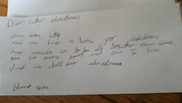 A child's letter to Santa asking for food and a home (Gerard Woodhouse)