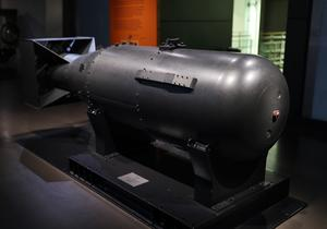 One of five casings made for the 'Little Boy' atomic bomb that was dropped on Hiroshima, at the Imperial War Museum London (Yui Mok/PA)