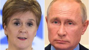 Nicola Sturgeon and Vladimir Putin (PA)
