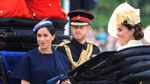 The Duke and Duchess of Sussex and the Duchess of Cambridge during Trooping the Colour (Gareth Fuller/PA)