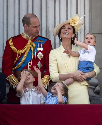 The Cambridges with Prince George, Princess Charlotte and Prince Louis after Trooping the Colour in 2019 (Victoria Jones/PA)