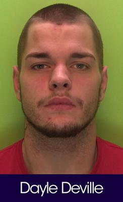 A custody image of Dayle Deville issued by Notts Police after he was jailed at Nottingham Crown Court.